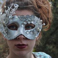 Silver Masquerade Ball Mask Silver masquerade mask White silver bridal mask Angel costume mask Silver mardi gras mask Ready to ship CELESTE