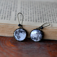 Full Moon Earrings, Galaxy Dangle Earrings, Full Moon Polymer Clay Earrings