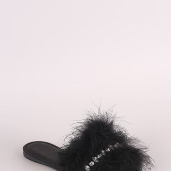 Embellished Faux Feather Slide Sandal | UrbanOG