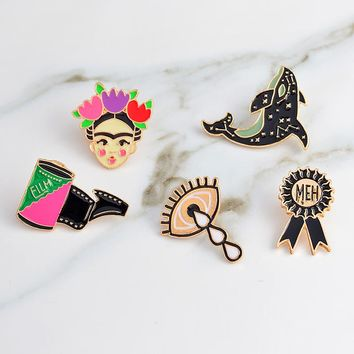 Artista de Mexico pins Eye film dolphin brooches Brooch badges Enamel pin denim jackets blouse backpack accessories