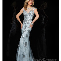 (PRE-ORDER) Tony Bowls 2014 Prom Dresses - Light Blue Illusion Prom Gown