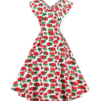 Chicloth red sweet strawberry vintage dress
