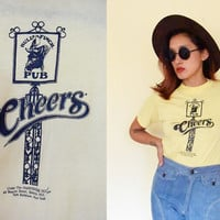 Vintage Cheers 80's small paper thin yellow tee tshirt
