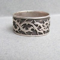 Men's Vintage Wide Sterling Silver & Black Enamel Barbed Wire Band Ring, Size 11