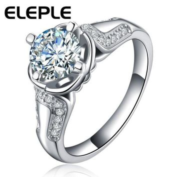 Eleple Queen Rings sliver color ring with 3 Carat CZ Stone AAA Zircon for women party Exquisite rings jewelry LSR052