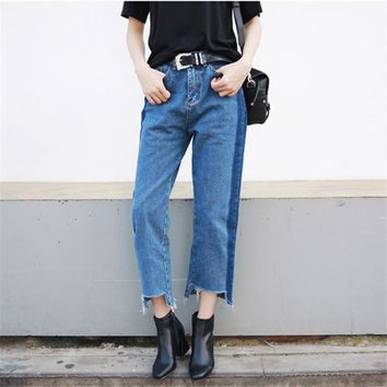 2017 New Fashion Korean Style Women Jeans Cropped High Waist Jean Femme Straight Push Up Jeans Womens Pants two colors