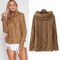 Knit Winter Women's Fashion Ripped Holes Tops [31066161178]