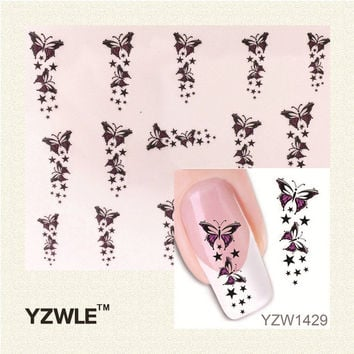 YZWLE Trendy Colorful Butterfly Star Nail Tips Water Transfer Nail Stickers Watermark Nail Decals Manicure Tools