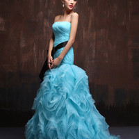 Strapless Aqua Blue Sexy Fit and Flare Prom Dress Formal Evening Gown with Organza Ruffles X022