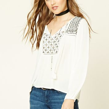 Geo-Embroidered Peasant Top