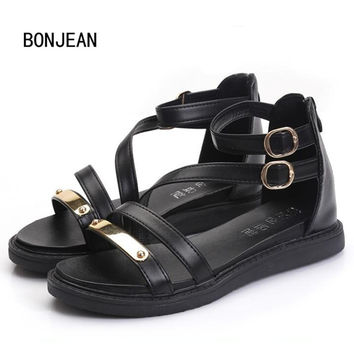 Women Sandals Shoes Punk Metal Bling Lace Up Roma Shoes Summer Strappy Gladiator Sandals Open Toe Chunky Sandals Woman Shoes