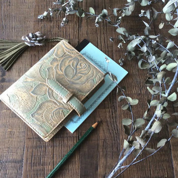 leather binder, old rose diary, planner binder, leather planner, rustic planner, art journal, ooak, handdyed, handstitched, natural diary