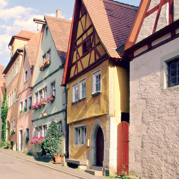 Candy Village - 8x10 Art Photo Print - Germany, Dollhouse, Timber Frame, Flowers, Summer, Sunshine, Fairytale, Princess, Nursery Pastels