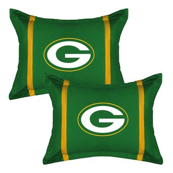 2pc NFL Green Bay Packers Pillow Sham Set Football Bedding