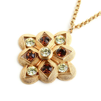 Vintage Sarah Coventry Necklace - Retro 1970s Gold Tone Statement Brown and Green Rhinestone Costume Jewelry / Starburst