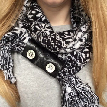 Upcycled Extra Wide Black Leather 2 Shell Button Embellished Scarf Cuff