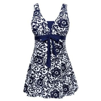 Women's Halter Shaping Body One-piece Swimsuit Plus Size Swimwear Navy Blue XL