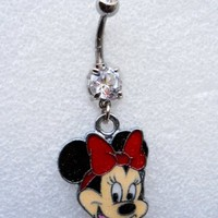 MINNIE MOUSE W/ SPARKLES Navel Belly Button Ring Body Jewelry Piercing