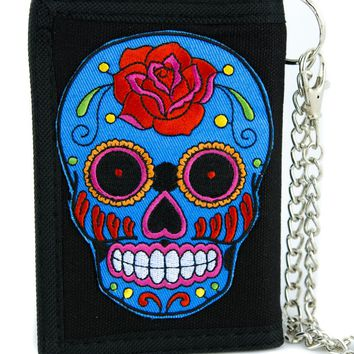 Day of the Dead Blue Sugar Skull Tri-fold Wallet Dark Halloween Dia De Los Muertos