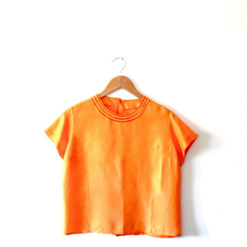 Orange / retro / vintage / 80s / silky / button up / cut out / short sleeve / blouse top