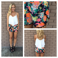 Navy & Neon Floral Luau Shorts