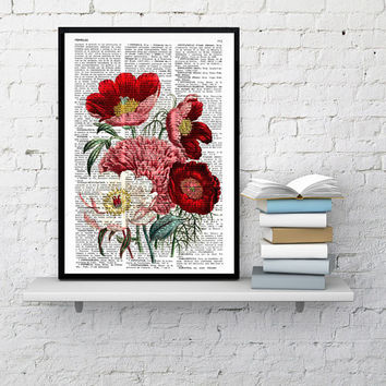 Vintage Book Print Dictionary or Encyclopedia Page Print- Book print Flower Bouquet  on Vintage Encyclopedic Dictionary Book art