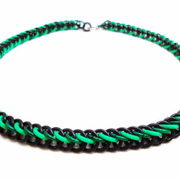 Glowing Chainmail Necklace Black & Green by SerenityInChains