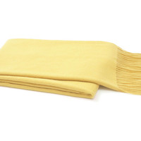 Solid Cashmere Throw, Yellow, Throws