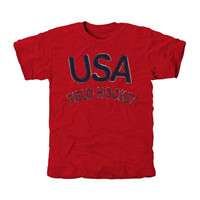 USA Field Hockey Heritage Men's Tri-Blend T-Shirt - Red