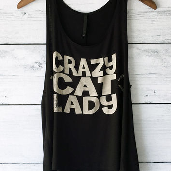 Crazy Cat Lady Tank Top in Black