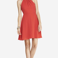 HALTER FIT AND FLARE DRESS - RED from EXPRESS