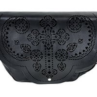 Gothic Cross Cut Out Messenger Bag Purse Satchel Faux Leather