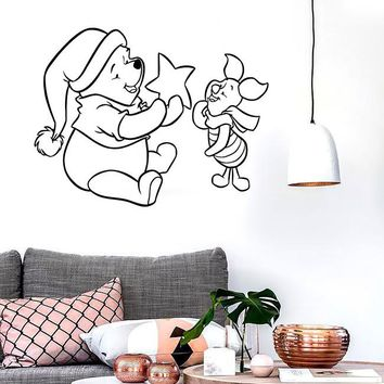 Wall Stickers Vinyl Decal Winnie The Pooh Cartoon Baby Positive Design (ig1052)
