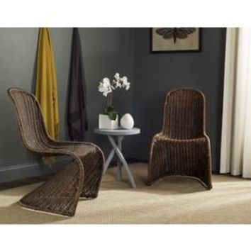 Shop Safavieh Set of 2 Tana Coastal Brown/Multi Accent Chairs at Lowes.com