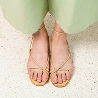Beige Wrap Leather Sandals
