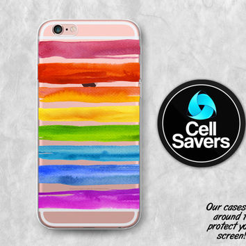 Rainbow Stripes Clear iPhone 6s Case iPhone 6 Case iPhone 6 Plus Case iPhone 6s + iPhone 5 Clear Case Watercolor Paint Strokes Cute Tumblr