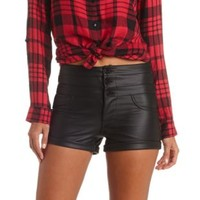 "Refuge ""Hi-Waist Shortie"" Faux Leather Shorts - Black"