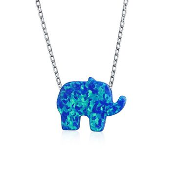 Created Blue Opal Elephant Necklace Pendant 925 Sterling Silver