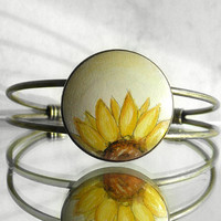 Half Of A Sunflower Charm Bracelet Hand Painted Flower, Sunflower Bangle Bracelet Charm Bezel Antique Bronze Color, Designed by Artdora