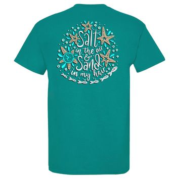 Salt in the Air & Sand in My Hair Southern Charm Collection on a Tropical Blue Shirt