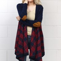 Campfire Stories Plaid + Suede Elbow Patch Cardigan {Red}