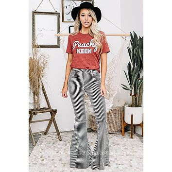 Walk The Line Striped Flare Jeans