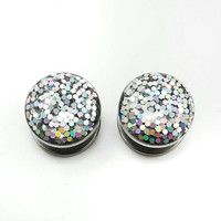 Silver iridescent sparkle plugs / 8g, 6g, 4g, 2g, 0g, 00g, 7/16, 1/2, 9/16, 5/8, 11/16, 3/4, 7/8 & 1 inch / silver plugs / wedding gauges