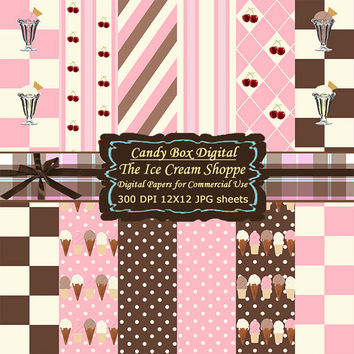 Ice Cream Digital, Ice Cream Paper, ice cream scrapbook, ice cream clipart, summer scrapbook, summer paper - Commercial Use OK