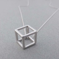 Cube  silver necklace-vintage style