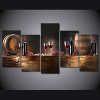 5 piece canvas art wine grapes Cask still life decorative pictures wall art canvas prints dining room decor dropship is welcomed