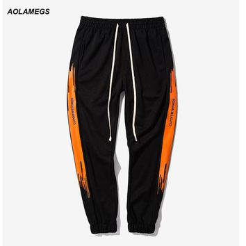 Aolamegs Men Vintage Track Pants Street Fashion Contrast Color Casual Trousers Side Stripe Letter Printing Male Joggers Pants