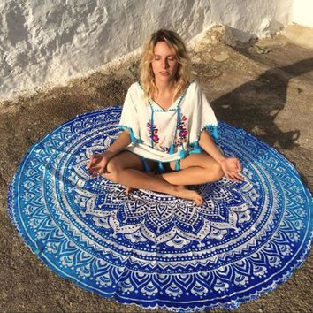 Large Microfiber Printed Round Beach Towels With Tassel Bikini Wear Swimsuit Tunic Pareo Cover Up Bathing Suit Picnic Blanket