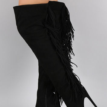 Privileged Suede Fringe Peep Toe Stiletto Thigh High Boot