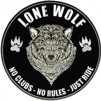 Green Lone Wolf No Clubs No Rules Just Ride Large Biker Back Patch